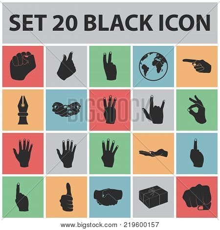 Hand gesture black icons in set collection for design. Palm and finger vector symbol stock  illustration.