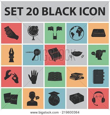 Translator and linguist black icons in set collection for design. Interpreter vector symbol stock  illustration.