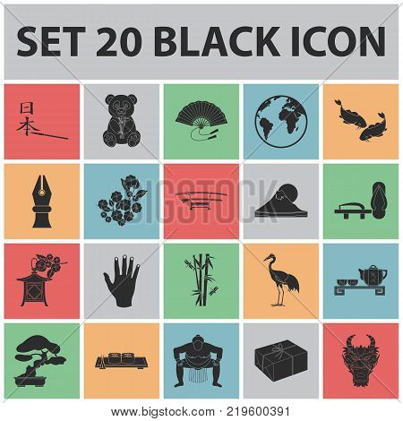 Country Japan black icons in set collection for design.Japan and landmark vector symbol stock  illustration.