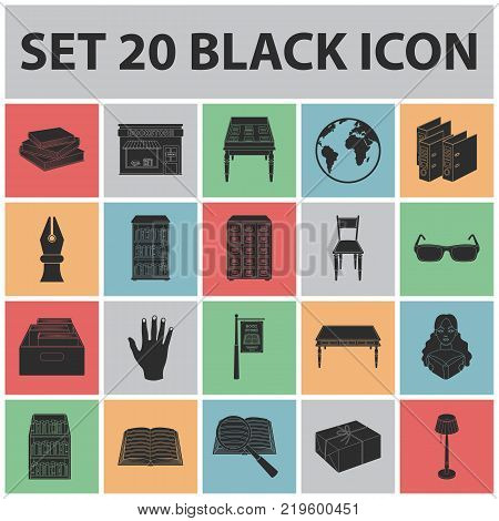 Library and bookstore black icons in set collection for design. Books and furnishings vector symbol stock  illustration.