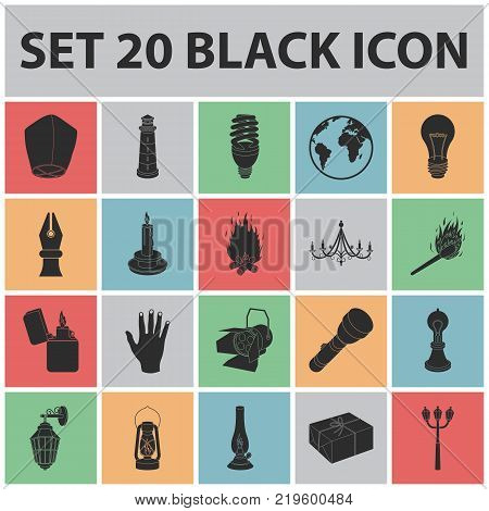 Light source black icons in set collection for design. Light and equipment vector symbol stock  illustration.
