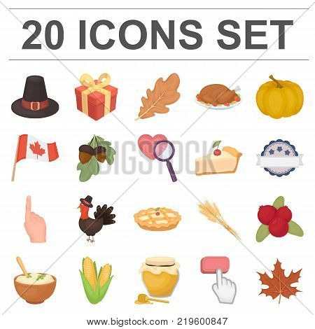 Canada Thanksgiving Day cartoon icons in set collection for design. Canada and Tradition vector symbol stock  illustration.