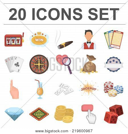 Casino and gambling cartoon icons in set collection for design. Casino and equipment vector symbol stock  illustration.