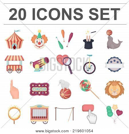 Circus and attributes cartoon icons in set collection for design. Circus Art vector symbol stock  illustration.