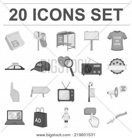 Production of advertising monochrome icons in set collection for design. Advertising equipment vector symbol stock  illustration.