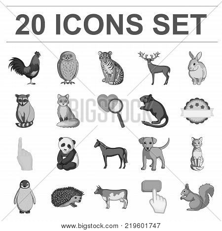 Realistic animals monochrome icons in set collection for design. Wild and domestic animals vector symbol stock  illustration.