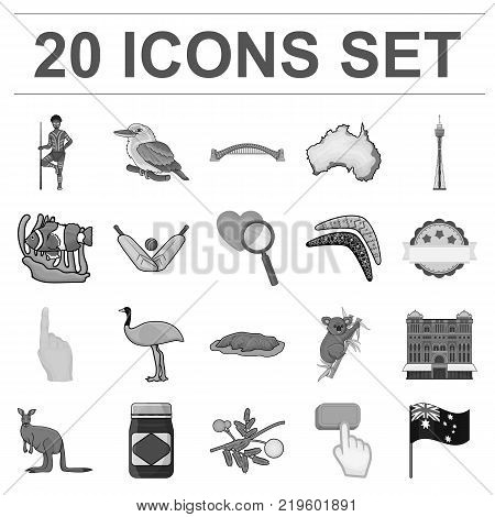 Country Australia monochrome icons in set collection for design.Travel and attractions vector symbol stock  illustration.