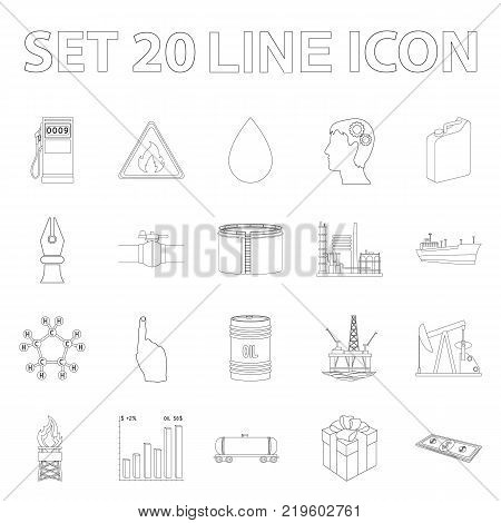 Oil industry outline icons in set collection for design. Equipment and oil production vector symbol stock  illustration.