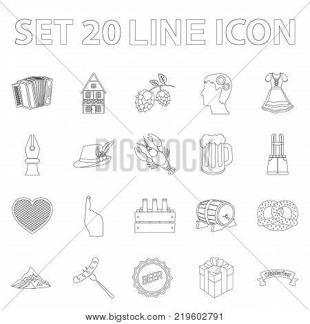 October festival in Munich outline icons in set collection for design.Tradition and fun vector symbol stock  illustration.