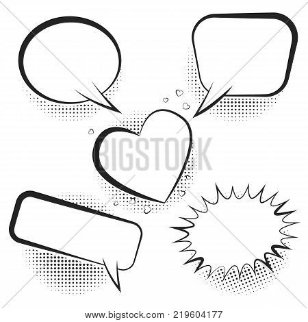 Set white empty retro vector photo free trial bigstock set of white empty retro comic speech bubbles with black halftone shadow in pop art style ccuart