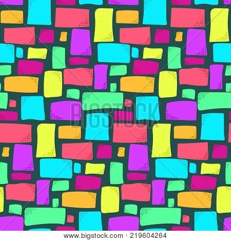 Cute kids seamless pattern with bright colorful rectangles on dark background. Abstract trendy vector texture with squares and rectangle shapes for textile wrapping paper cover surface wallpaper