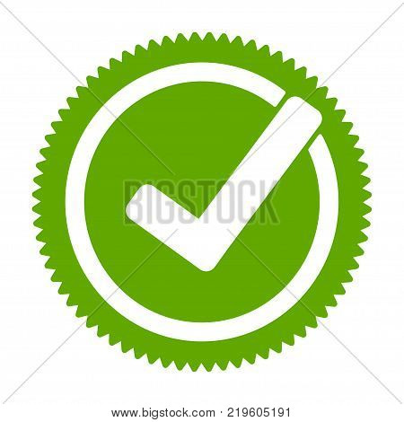Green approved star sticker. Check mark, tick hook signs in circle. Button for vote YES