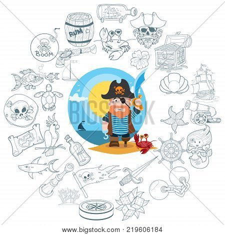 Round composition pirate theme, pirate history, adventure, outline drawing, contour icons