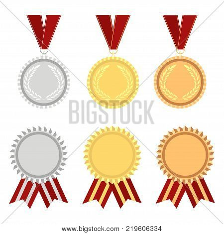 Award rosette gold, silver and bronze with ribbons and rossetes. Winner hampion medals label. Vector illustration