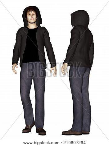 3d render of boy wearing hoodies as hacker,teenage boy,stranger concept