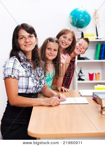 Cheerful Teacher And Several Students