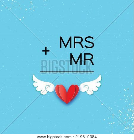 Mr and Mrs words. Mister plus Missis equal love on sky blue. Paper cut Red heart and angel wings. Romantic card For wedding invitations design, table decoration, cards, banners. Winged heart. Vector Illustration