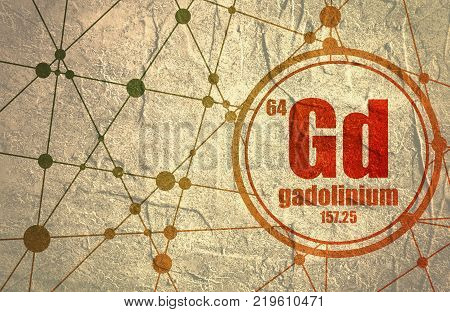 Gadolinium chemical element. Sign with atomic number and atomic weight. Chemical element of periodic table. Molecule And Communication Background. Connected lines with dots.
