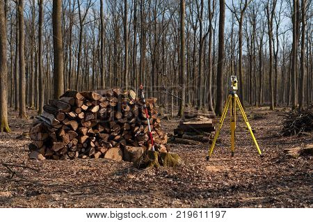 Geodesy, theodolite on a tripod in forest during autumn