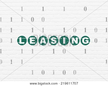 Business concept: Painted green text Leasing on White Brick wall background with Binary Code