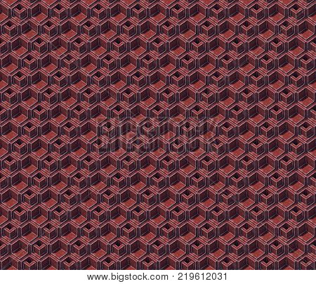 Abstract seamless isometric colored cubes. Background pattern. 3d rendering