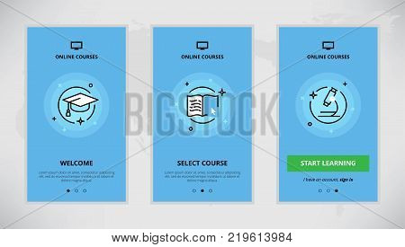 Modern vector flat line mobile app design set of online education courses. Onboarding screens for online education course