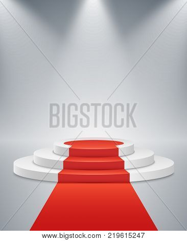 White podium and red road on a light background. The winner is in first place. Bright white light from searchlights. Light pedestal. Festive event. Vector illustration.