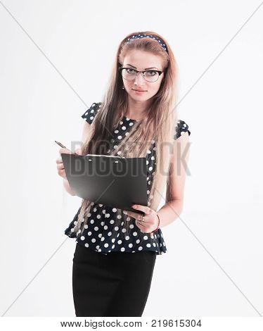 portrait of confident female administrator in glasses with papers on white background. the photo has a empty space for your text