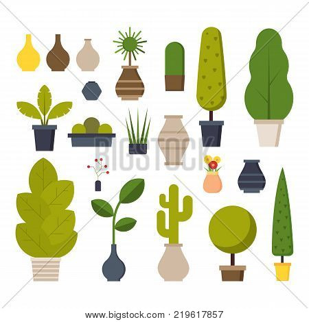 Home room and office plants in pots. Houseplants and flowerpots icons isolated on white background. Interior constructor set.