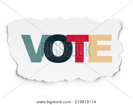 Political concept: Painted multicolor text Vote on Torn Paper background