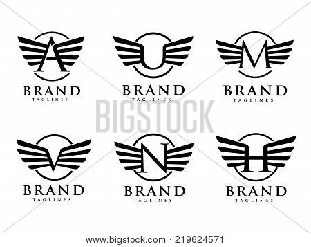 letters with wings and circle styles logo vector, Creative Letter with wings design element. letter wings Corporate branding identity Vector template