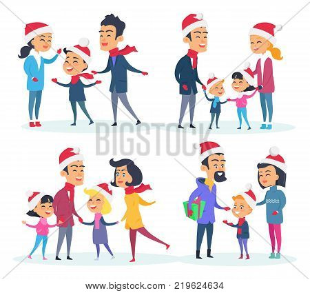 Set of different families on white background. Vector illustration of one and two-children families with their parents. Father mother daughter and son in red Santas hats. Christmas is coming soon.