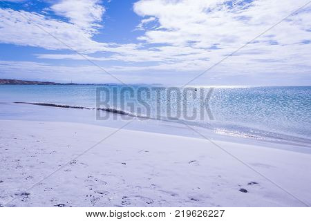 Travel photography - tropical beach with white sand in a caribbean island (Coche island, Venezuela).