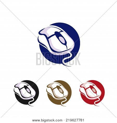 computer mouse click icon vector circle background , computer mouse with cable and scrolls logo concept