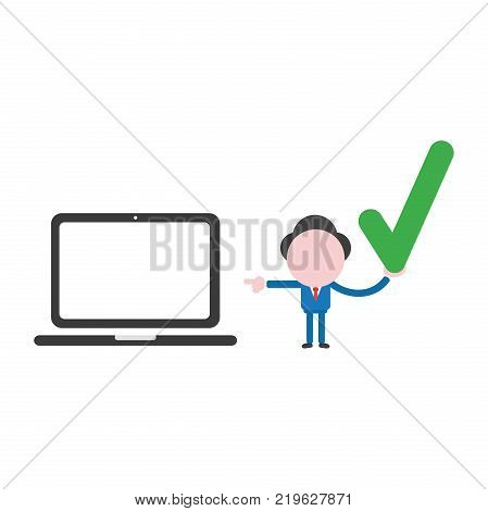 Vector Illustration Concept Of Faceless Businessman Character Holding Smarthphone