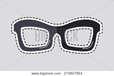Classic glasses icon patch. Glasses isolated cut out. Unisex model, frame for man and woman. Eyeglasses with dashed line sticker. Hipster glasses. Metal framed geek glasses. Vector illustration