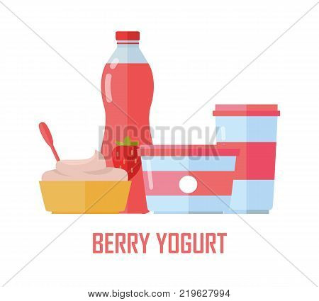 Berry yogurt banner. Milk production. Yogurt with berries and blueberries. Different dairy products from milk on white background. Assortment of dairy products. Farm food. Dairy website template.