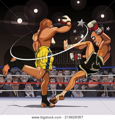 A cartoon male fighter strikes an opponent while in the ring