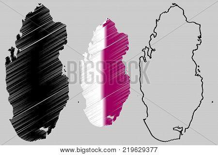 Qatar map vector illustration , scribble sketch State of Qatar