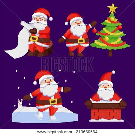 Santa Clauses set of icons. Saint Nicholas with wish list, Santy decorates tree, Father Christmas in chimney made of bricks, playing outdoors vector set