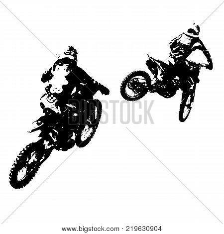 The Rider participates motocross championship. Vector illustration.