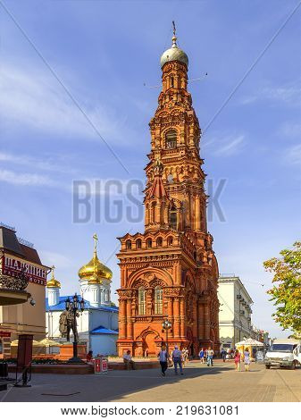 KAZAN, RUSSIA - August 25, 2016: Epiphany Cathedral with a bell tower. Built in the 17th century. Bell tower height of about 70m.