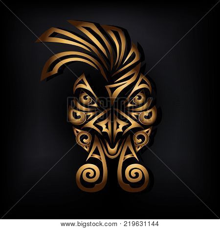 Golden rooster head isolated on black background. Stylized Maori face tattoo. Golden rooster mask. Vector illustration.