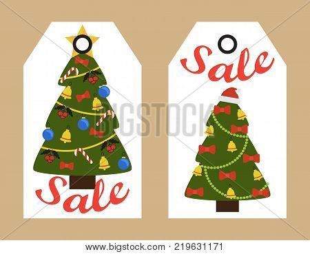 sale decorative tags with new year decorated christmas trees topped by star or santas hat - Decorative Christmas Labels