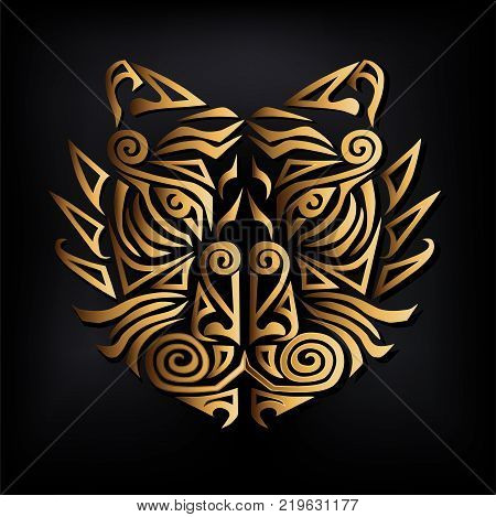 Golden tiger head isolated on black background. Stylized Maori face tattoo. Golden tiger mask. Symbol of Chinese Horoscope by years. Vector illustration.