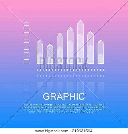 Graphic half transparent column chart with sharp edges and written text under white inscription. Vector illustration of schematic image with reflecting changeable columns for business presentation