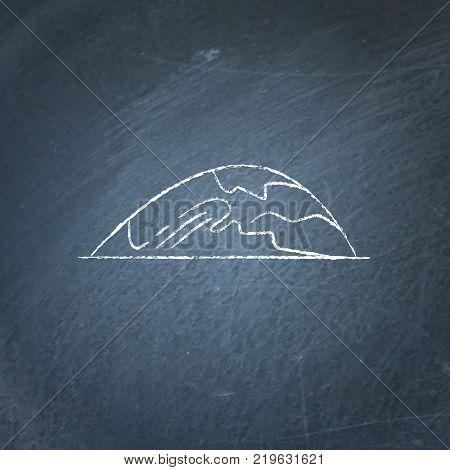 Low rounded hill icon on chalkboard. Outline mountain symbol - chalk drawing on blackboard.