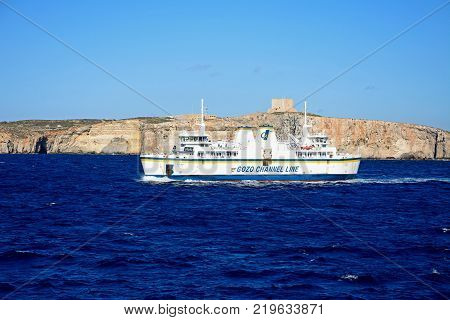 GOZO, MALTA - APRIL 3, 2017 - Ta Pinu Gozo Channel Line ferry with views towards Comino to the rear during the Springtime Malta Europe, April 3, 2017.