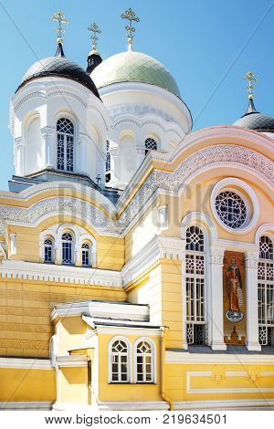Christian church in Ukraine, domes with crosses.