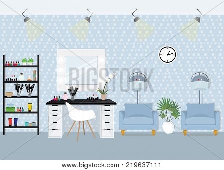 Beauty salon design with mirror and dryers. Flat style vector illustration.